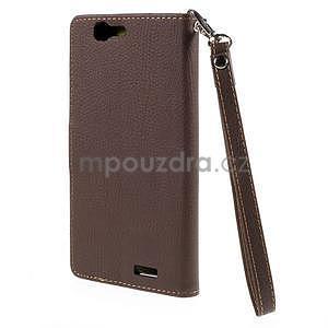 Hnedé peňaženkové puzdro na Huawei Ascend G7 - 6
