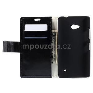 Peňaženkové kožené puzdro na Microsoft Lumia 640 - čierné - 6