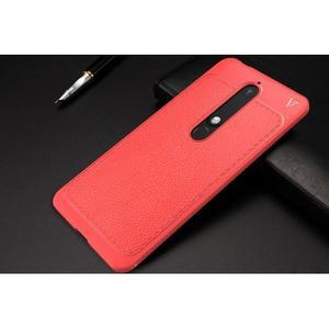 IVS gélový obal so štýlovou textúrou na Nokia 6.1 - červený - 6