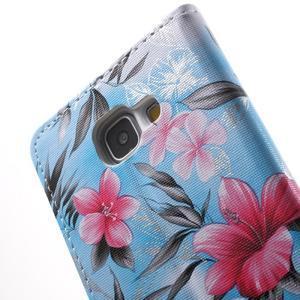 Kvetinové peňaženkové puzdro pre Samsung Galaxy A5 (2016) - modré - 6
