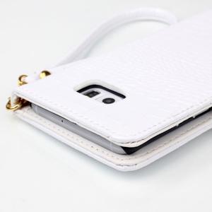 Croco styl peněženkové pouzdro na Samsung Galaxy S7 - bílé - 6
