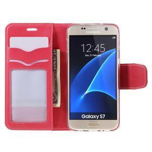 Rich PU kožené peňaženkové puzdro pre Samsung Galaxy S7 - rose - 6