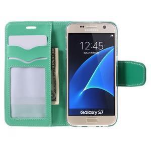 Rich PU kožené peňaženkové puzdro pre Samsung Galaxy S7 - azúrové - 6