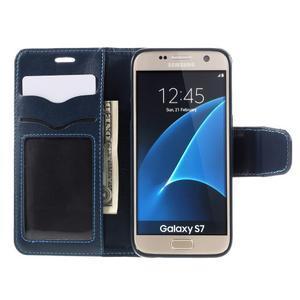 Rich PU kožené peněženkové pouzdro na Samsung Galaxy S7 - tmavěmodré - 6