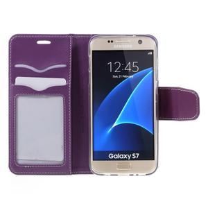 Rich PU kožené peňaženkové puzdro pre Samsung Galaxy S7 - fialové - 6