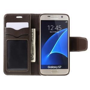 Rich PU kožené peněženkové pouzdro na Samsung Galaxy S7 - coffee - 6