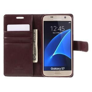 Moon PU kožené puzdro pre mobil Samsung Galaxy S7 - tmavočervené - 6