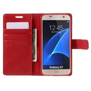 Moon PU kožené puzdro pre mobil Samsung Galaxy S7 - červené - 6