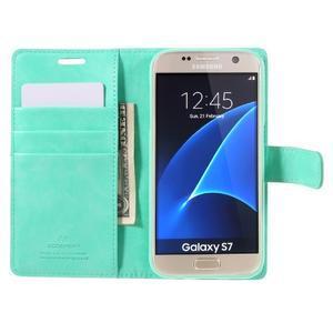 Moon PU kožené puzdro pre mobil Samsung Galaxy S7 - azurové - 6