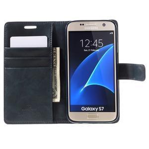 Moon PU kožené puzdro pre mobil Samsung Galaxy S7 - tmavomodré - 6