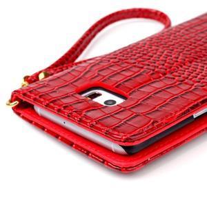 Croco styl peněženkové pouzdro na Samsung Galaxy S7 - červené - 6