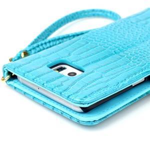 Croco styl peňaženkové puzdro pre Samsung Galaxy S7 - modré - 6