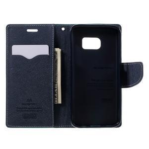 Goosper PU kožené puzdro pre Samsung Galaxy S7 - cyan - 6