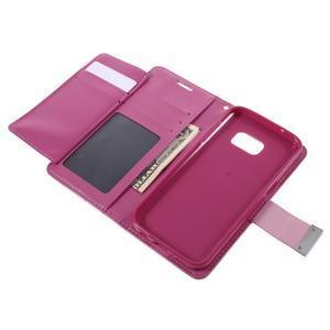 Luxury PU kožené puzdro pre Samsung Galaxy S7 - rose - 6