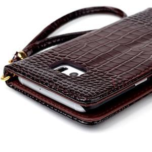 Croco styl peňaženkové puzdro pre Samsung Galaxy S7 - hnedé - 6
