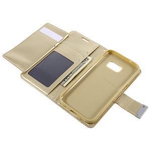 Luxury PU kožené pouzdro na Samsung Galaxy S7 - zlaté - 6