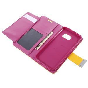 Luxury PU kožené puzdro pre Samsung Galaxy S7 - žlté - 6