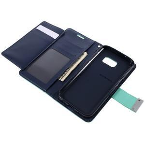 Luxury PU kožené puzdro pre Samsung Galaxy S7 - azúrové - 6