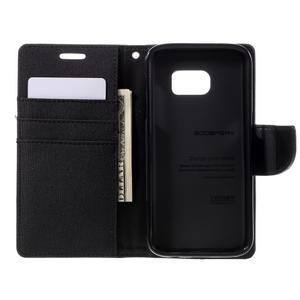 Canvas PU kožené/textilní puzdro pre Samsung Galaxy S7 - čierne - 6