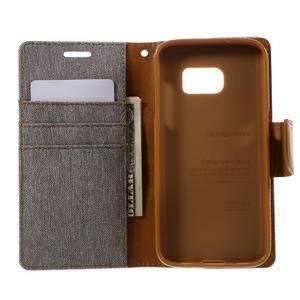 Canvas PU kožené/textilní puzdro pre Samsung Galaxy S7 - šedé - 6