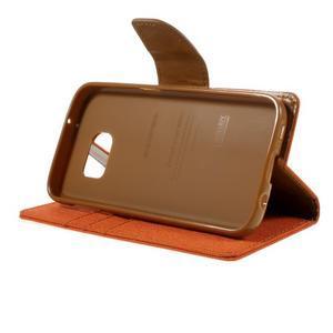 Canvas PU kožené/textilní puzdro pre Samsung Galaxy S7 - oranžové - 6