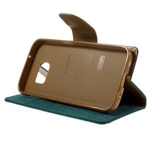 Canvas PU kožené/textilní puzdro pre Samsung Galaxy S7 - zelené - 6