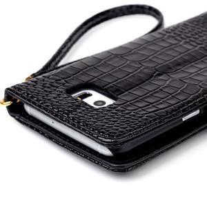 Croco styl peňaženkové puzdro pre Samsung Galaxy S7 - čierne - 6
