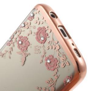 Nice gélový obal s kamínky pre Samsung Galaxy S7 - ružové kvetiny - 6