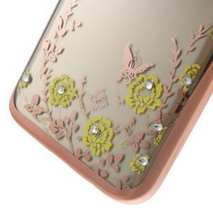 Nice gélový obal s kamínky pre Samsung Galaxy S7 - žlté kvetiny - 6