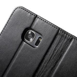 Rich PU kožené puzdro pre Samsung Galaxy S7 edge - čierne - 6