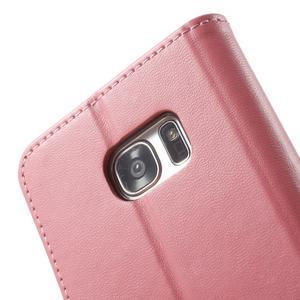 Rich PU kožené puzdro pre Samsung Galaxy S7 edge - ružové - 6