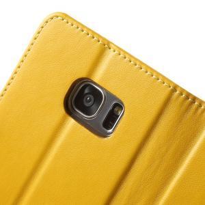 Rich PU kožené pouzdro na Samsung Galaxy S7 edge - žluté - 6