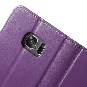 Rich PU kožené pouzdro na Samsung Galaxy S7 edge - fialové - 6