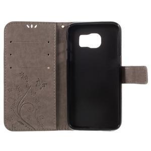 Butterfly PU kožené pouzdro na Samsung Galaxy S7 edge - šedé - 6