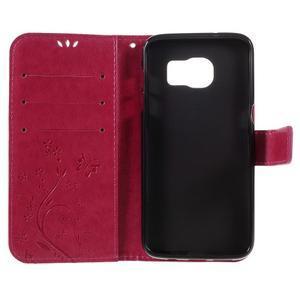Butterfly PU kožené puzdro pre Samsung Galaxy S7 edge - rose - 6
