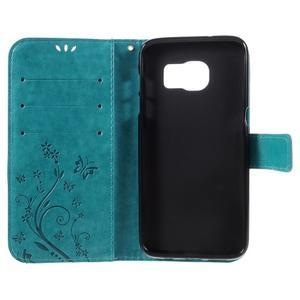 Butterfly PU kožené puzdro pre Samsung Galaxy S7 edge - modré - 6