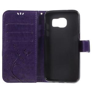 Butterfly PU kožené pouzdro na Samsung Galaxy S7 edge - fialové - 6
