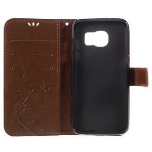 Butterfly PU kožené puzdro pre Samsung Galaxy S7 edge - hnedé - 6