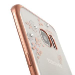 Nice gelový obal s kamínky na Samsung Galaxy S7 edge - bílé květiny - 6