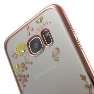 Nice gélový obal s kamienkami pre Samsung Galaxy S7 edge - žlté kvety - 6