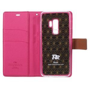 Grain knihové puzdro s magnetickým zapínaním na Samsung Galaxy S9 Plus - rose - 6