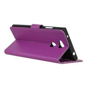 Litchi PU kožené púzdro na Sony Xperia L2 - fialové - 6