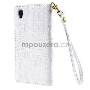 biele PU kožené puzdro aligátor pre Sony Xperia M4 Aqua - 6
