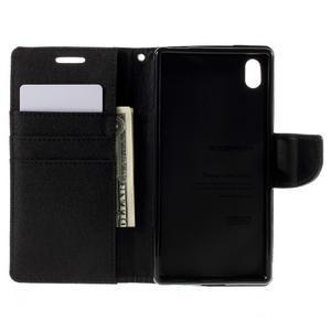 Canvas PU kožené/textilné puzdro pre Sony Xperia Z5 - čierne - 6