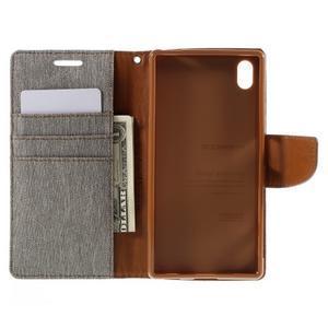 Canvas PU kožené/textilní pouzdro na Sony Xperia Z5 - šedé - 6