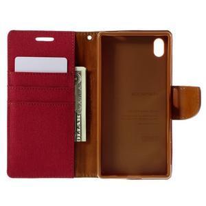Canvas PU kožené/textilné puzdro pre Sony Xperia Z5 - červené - 6