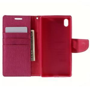 Canvas PU kožené/textilní pouzdro na Sony Xperia Z5 - rose - 6