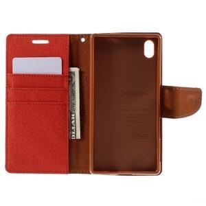 Canvas PU kožené/textilné puzdro pre Sony Xperia Z5 - oranžové - 6