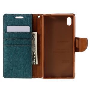 Canvas PU kožené/textilné puzdro pre Sony Xperia Z5 - zelené - 6