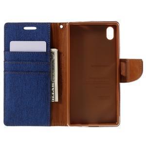 Canvas PU kožené/textilné puzdro pre Sony Xperia Z5 - modré - 6